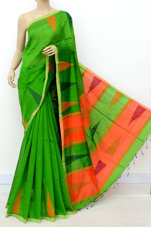 Green Colour Masturised Cotton Saree (With Blouse) 16304