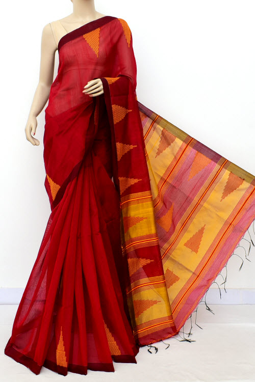 DarkRed Colour Masturised Cotton Saree (With Blouse) 16305
