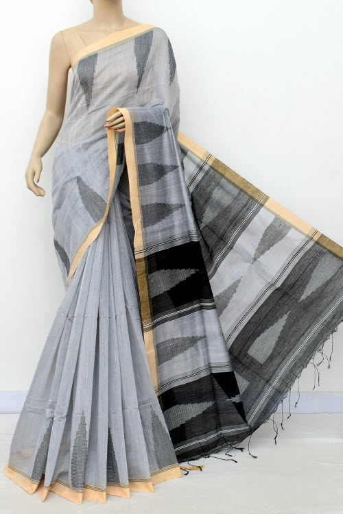 Grey Colour Masturised Cotton Saree (With Blouse) 16307