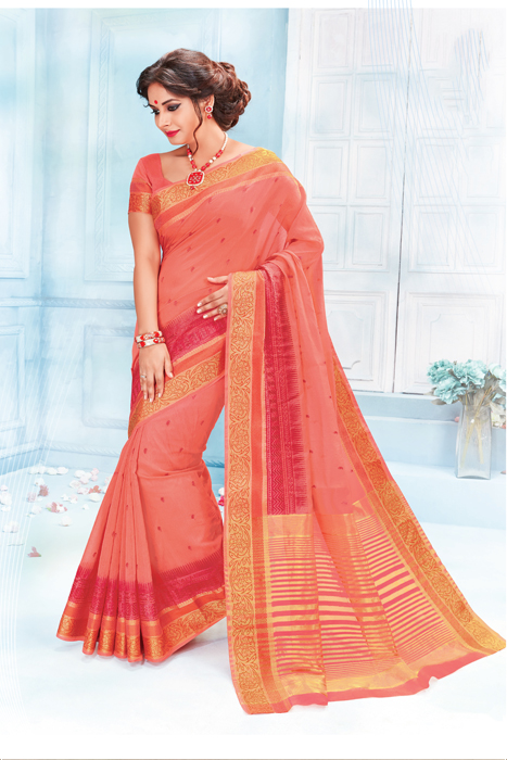Peach Saree With Weaving Border In Semi Silk