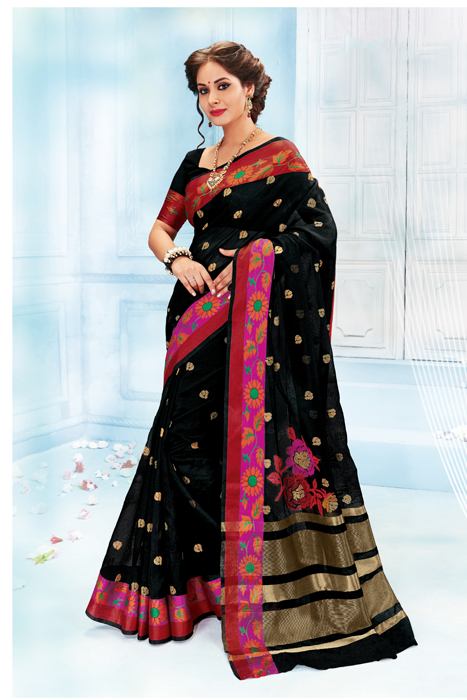 Black Saree With Red Floral Border  In Semilk
