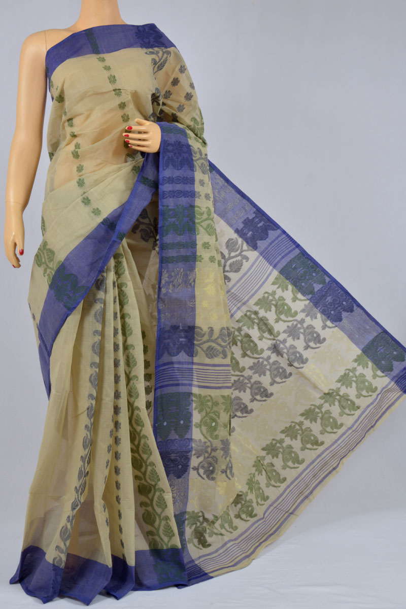 Hazel Wood Color Cotton Tant Bengal Handloom Dhakai Jamdani Allover Saree (Without Blouse) - MC250143