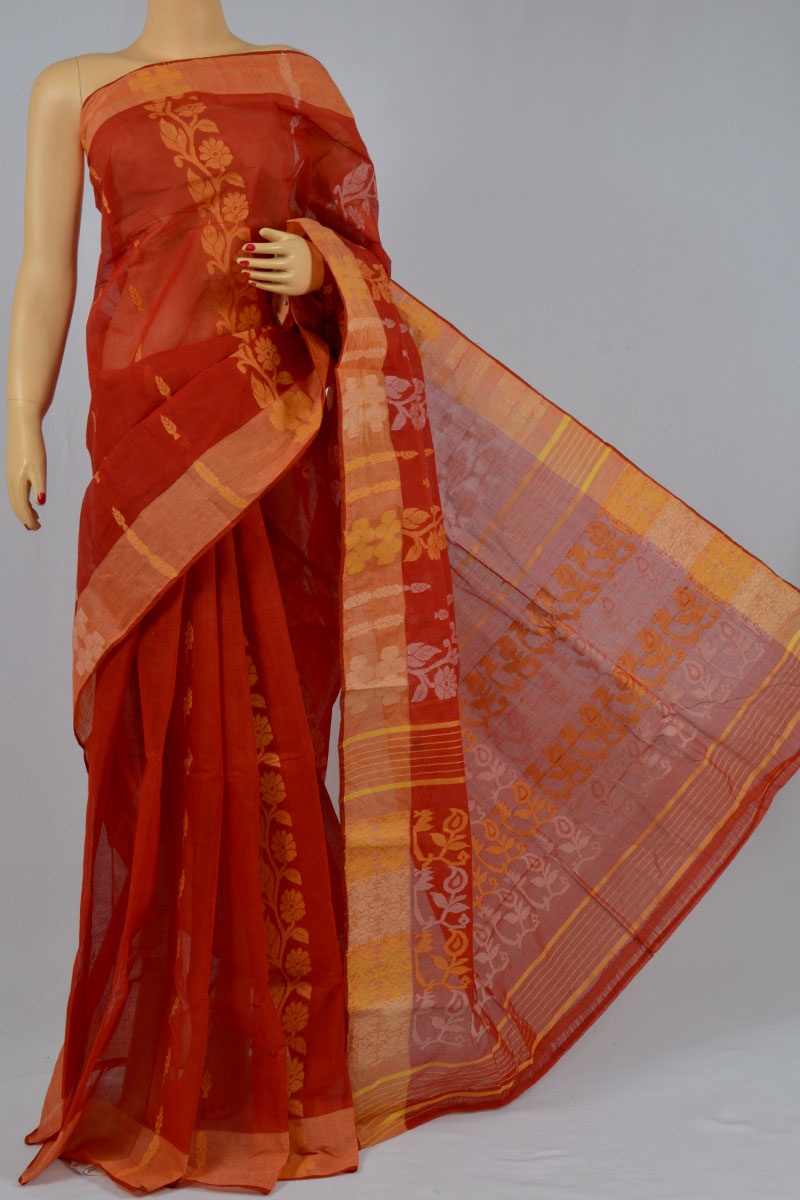 Scarlet Color Cotton Tant Bengal Handloom Dhakai Jamdani Allover Saree (Without Blouse) - KC250144