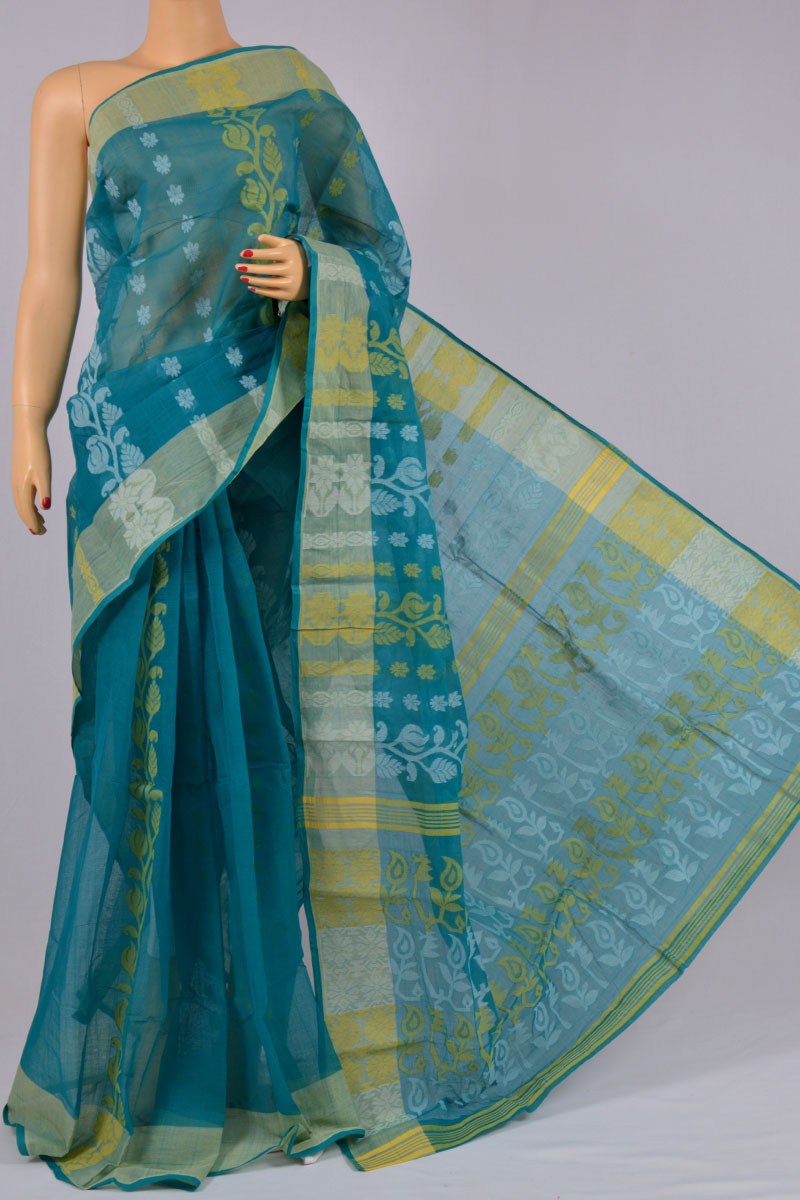 Teal Color Cotton Tant Bengal Handloom Dhakai Jamdani Allover Saree (Without Blouse) - MC250145