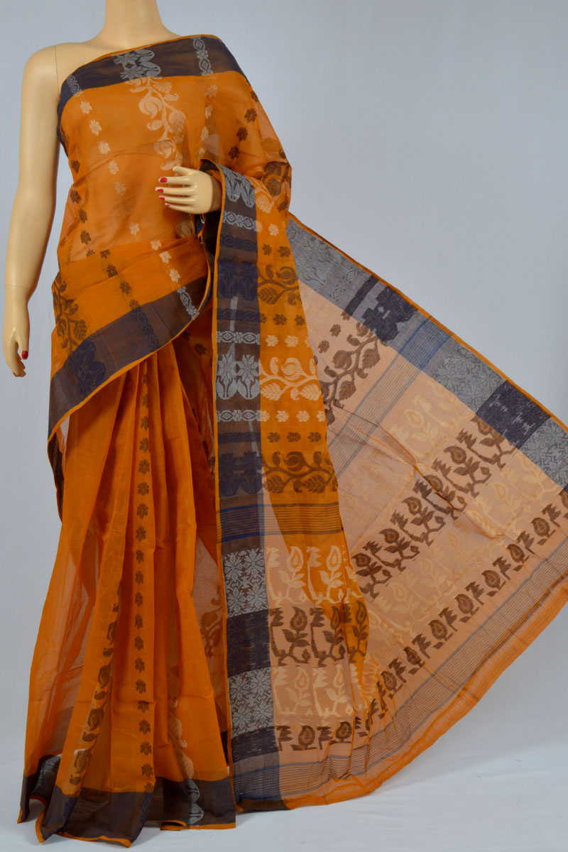 Bronze Color Cotton Tant Bengal Handloom Dhakai Jamdani Allover Saree (Without Blouse) - KC250146