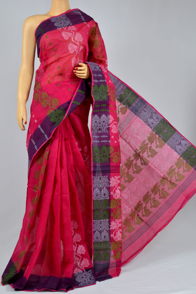 Crimson Color Cotton Tant Bengal Handloom Dhakai Jamdani Allover Saree (Without Blouse) - KC250141