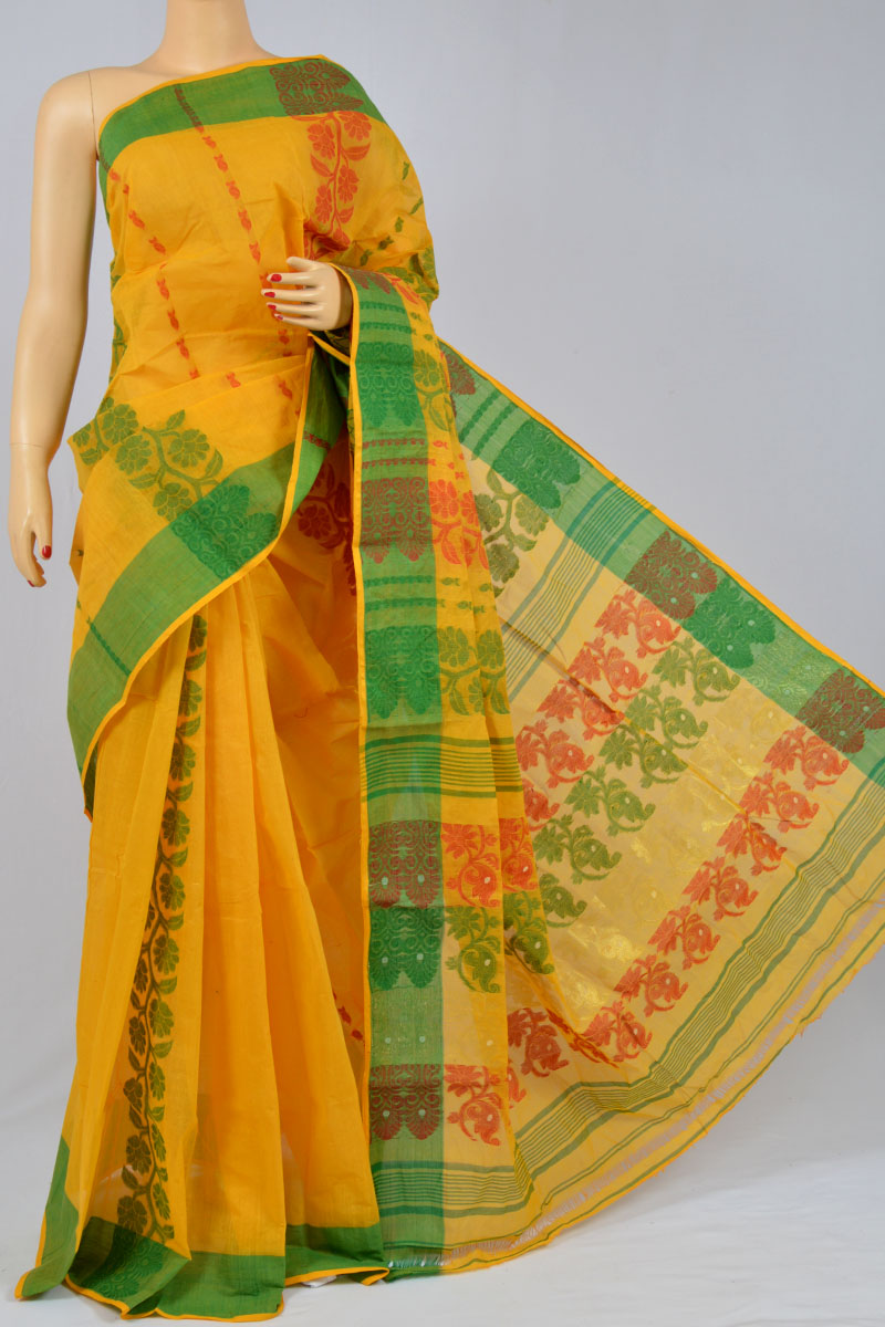 Honey Color Cotton Tant Bengal Handloom Dhakai Jamdani Allover Saree (Without Blouse) - SM250142