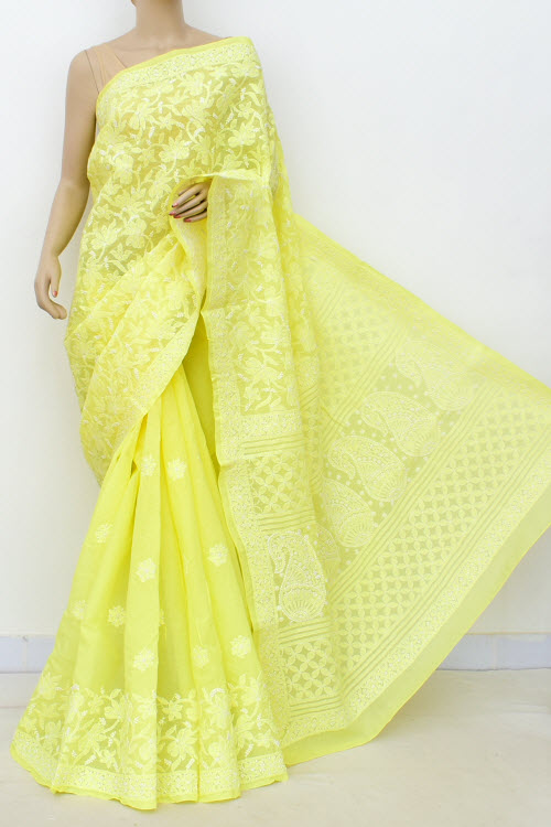 Yellow Allover Hand Embroidered Lucknowi Chikankari Saree (Cotton-With Blouse) 14751