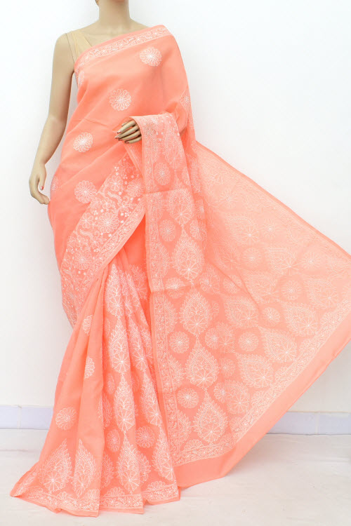 Peach Allover Hand Embroidered Lucknowi Chikankari Saree (Cotton-With Blouse) 14760