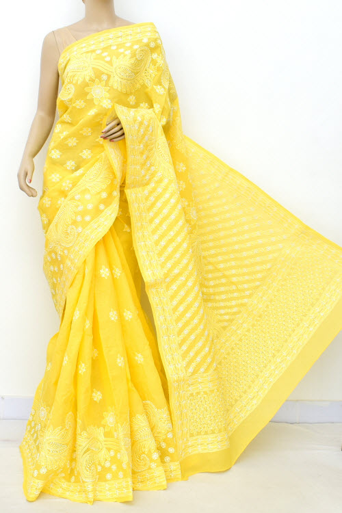Yellow Allover Hand Embroidered Lucknowi Chikankari Saree (Cotton-With Blouse) 14773
