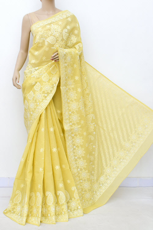 Lightyellow Allover Hand Embroidered Lucknowi Chikankari Saree (Cotton-With Blouse) 14781