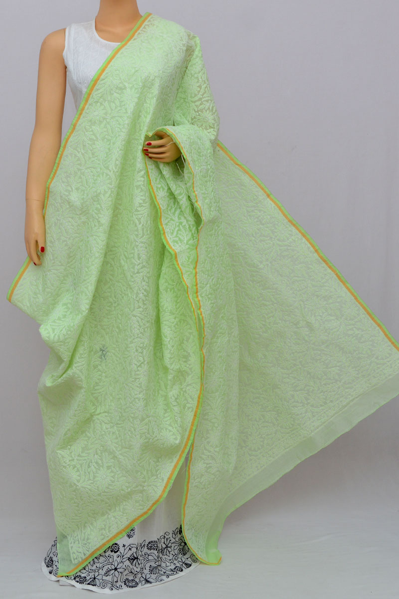 Light Green Allover Hand Embroidered Lucknowi Chikankari Dupatta (Chanderi Cotton) MY250246