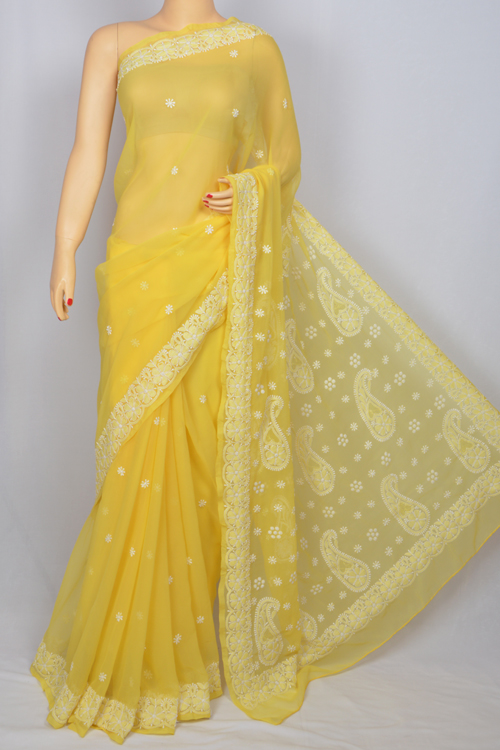 Yellow  Hand Embroidered  Work Lucknowi Chikankari Saree (With Blouse - Georgette)- MC60018