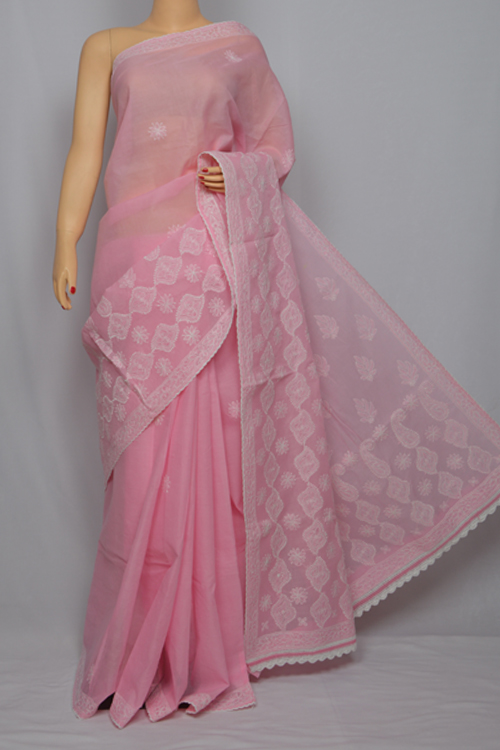 Pink Hand Embroidered Lucknowi Chikankari Saree (With Blouse - Cotton) MC250032