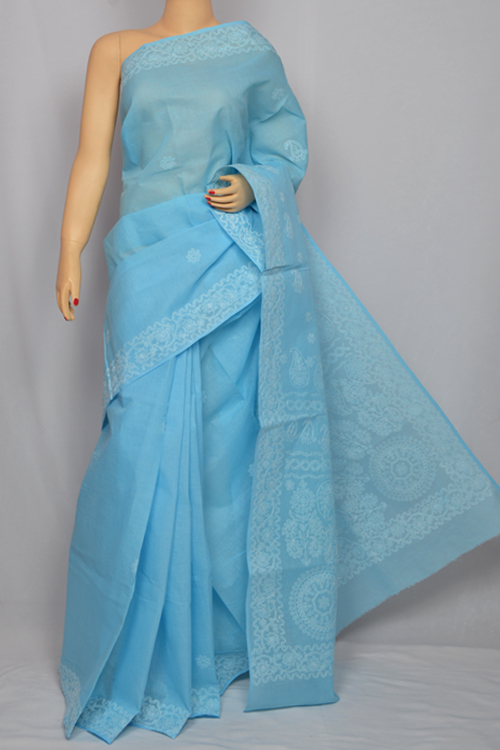 Lightsky blue Hand Embroidered Lucknowi Chikankari Saree (With Blouse - Cotton) MC250033