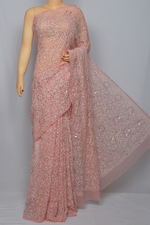 Peach  Allover Hand Embroidered Lucknowi Chikankari Saree (With Blouse - Georgette) MC250035