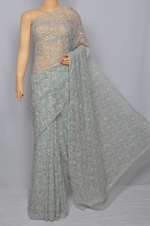 Grey Allover Hand Embroidered Lucknowi Chikankari Saree (With Blouse - Georgette) MC250036