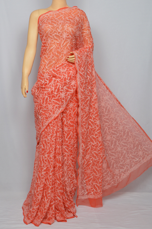 Red Allover Hand Embroidered Lucknowi Chikankari Saree (With Blouse - Georgette) MC250037