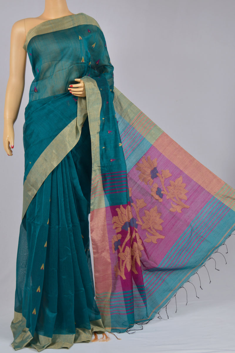 Ocean Blue Dhakai Jamdani Bengal Handloom Plain Silk Pattern Saree (With Blouse) - MC250136