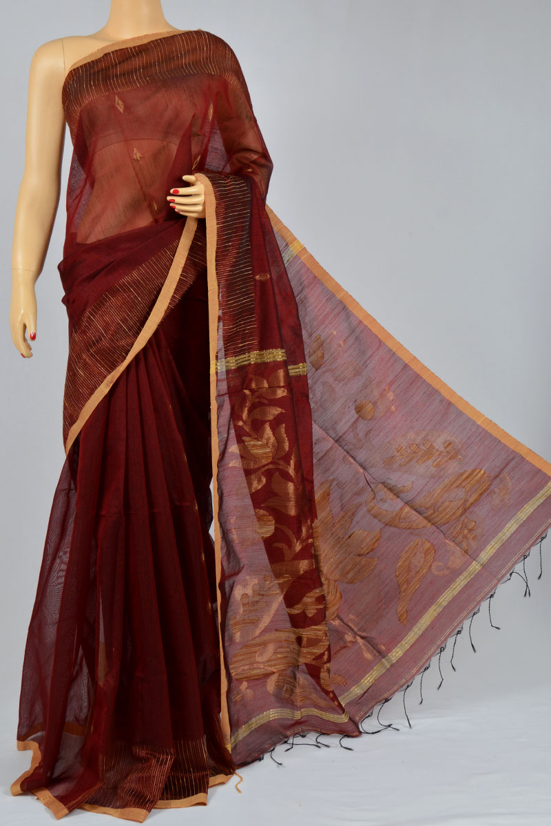 Wine Color Handwoven Bengal Handloom Silk Ghicha Designed Pallu Saree (With Blouse) - MC250134