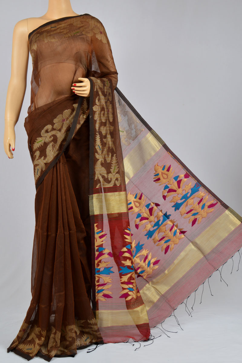 Mahogany Color Soft Dhakai Jamdani Bengal Handloom Ghicha Silk Pattern Special Handmade Designer Pallu Saree (With Blouse) - MC250132