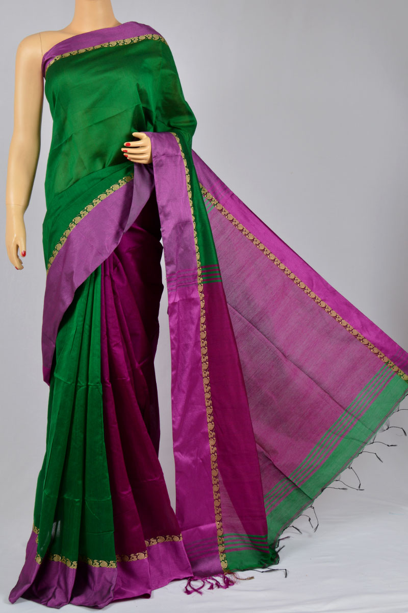 Patti Green Color Bengal Handloom Half Contrast Border-Pallu Silk Pattern Saree (With Blouse) - SM250137