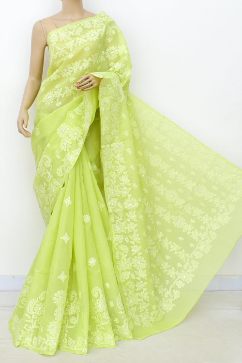 Green Allover Hand Embroidered Lucknowi Chikankari Saree (Cotton-With Blouse) 14818