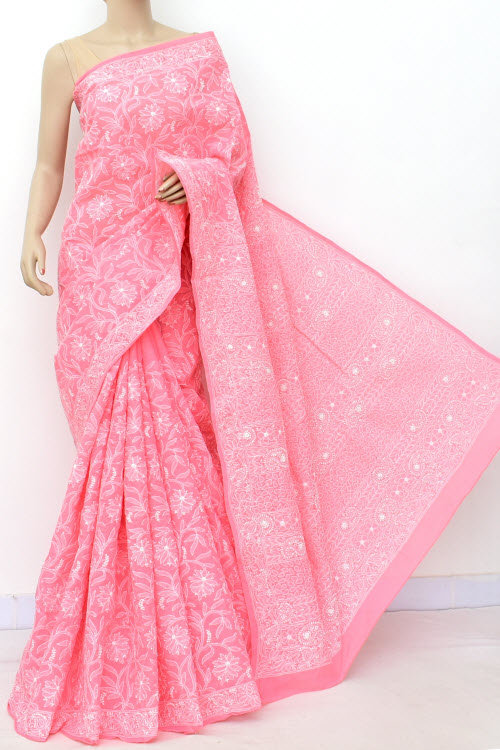 Pink Allover Hand Embroidered Lucknowi Chikankari Saree (Cotton-With Blouse) 14850