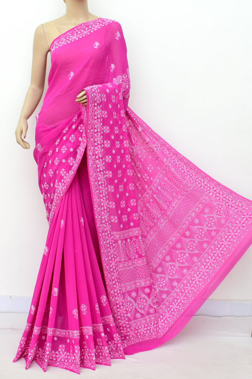 Deep Pink Hand Embroidered Pure Georgette Lucknowi Chikankari Saree (Georgette-With Blouse) 15210
