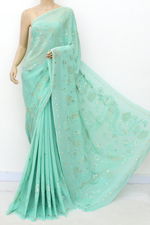 Seagreen Hand Embroidered Semi Georgette Lucknowi Chikankari Saree (georgette-with Blouse) 15213