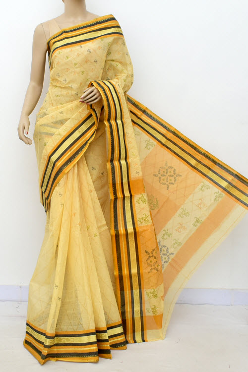 Yellow Colour Handwoven Bengal Handloom Cotton Saree (Without Blouse) 17150