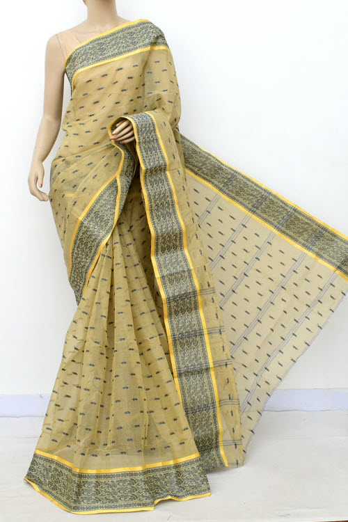 Mellow Colour Handwoven Bengal Handloom Cotton Saree (Without Blouse) 17175
