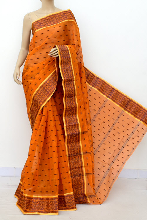 Orange Colour Handwoven Bengal Handloom Cotton Saree (Without Blouse) 17161