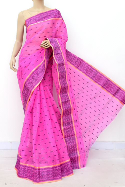 Pink Colour Handwoven Bengal Handloom Cotton Saree (Without Blouse) 17178