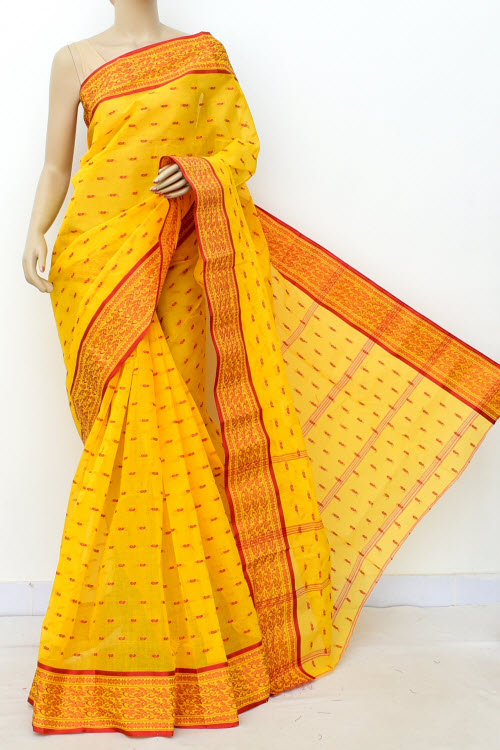 Yellow Colour Handwoven Bengal Handloom Cotton Saree (Without Blouse) 17179