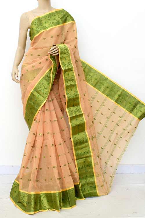 Biege Colour Handwoven Bengal Handloom Cotton Saree (Without Blouse) 17180