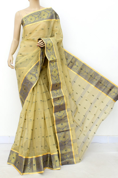 Lightgreen Colour Handwoven Bengal Handloom Cotton Saree (Without Blouse) 17182