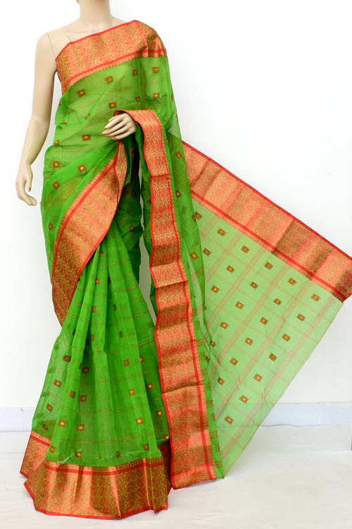 Green Colour Handwoven Bengal Handloom Cotton Saree (Without Blouse) 17183