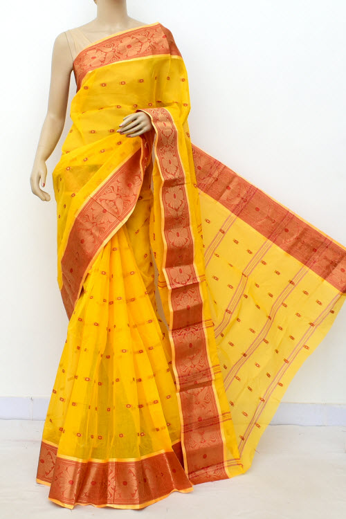 Yellow Colour Handwoven Bengal Handloom Cotton Saree (Without Blouse) 17184