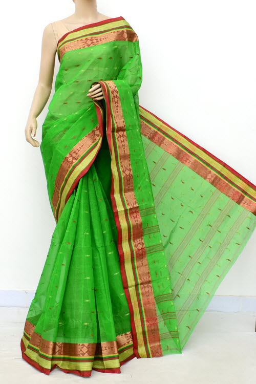 Green Colour Handwoven Bengal Handloom Cotton Saree (Without Blouse) 17209
