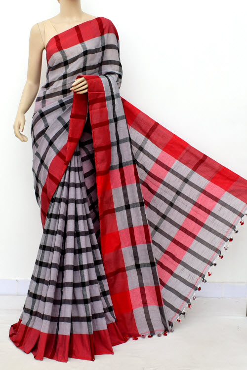 Red Colour Handwoven Bengal Handloom Soft Cotton Saree (With Blouse) 17649