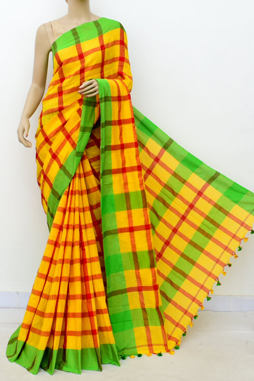 Yellow Colour Handwoven Bengal Handloom Soft Cotton Saree (With Blouse) 17654