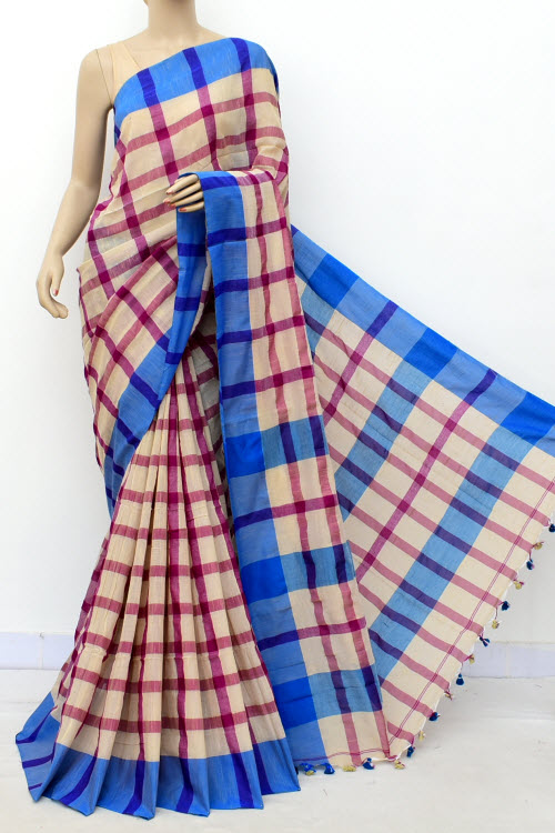 Blue Colour Handwoven Bengal Handloom Soft Cotton Saree (With Blouse) 17658