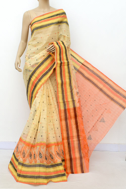 Biege Colour Handwoven Bengal Handloom Blockprint Cotton Saree (Without Blouse) 17808