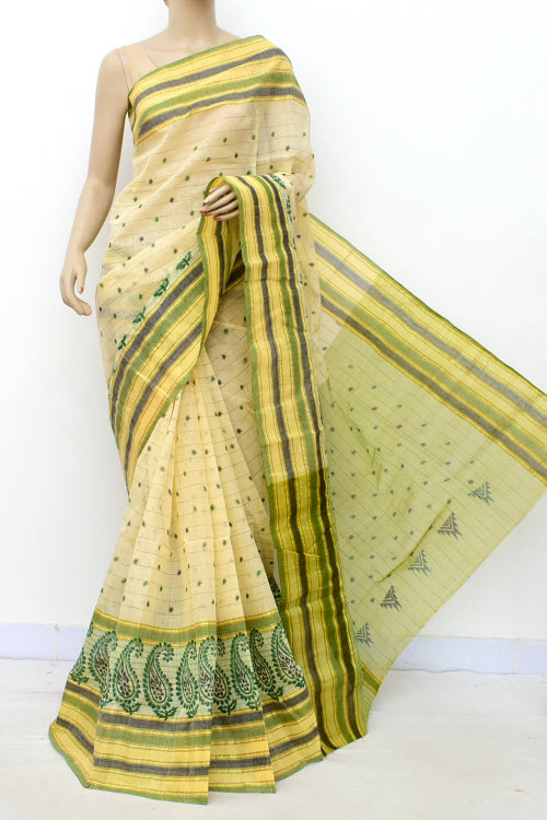 Green Colour Handwoven Bengal Handloom Blockprint Cotton Saree (Without Blouse) 17809