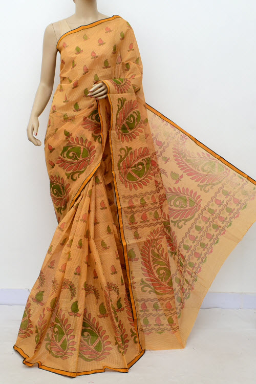 Brown Colour Handwoven Bengal Handloom Blockprint Cotton Saree (without Blouse) 17810