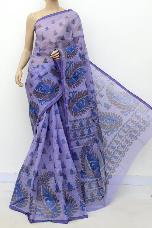 Purple Colour Handwoven Bengal Handloom Blockprint Cotton Saree (without Blouse) 17811