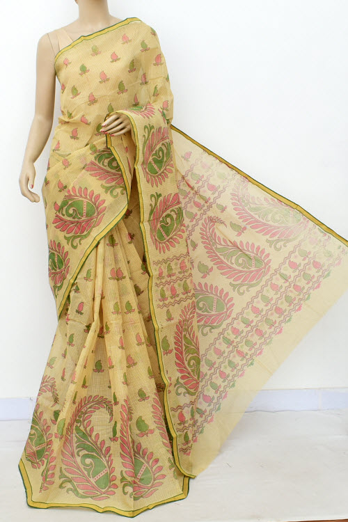 Biege Colour Handwoven Bengal Handloom Blockprint Cotton Saree (Without Blouse) 17812