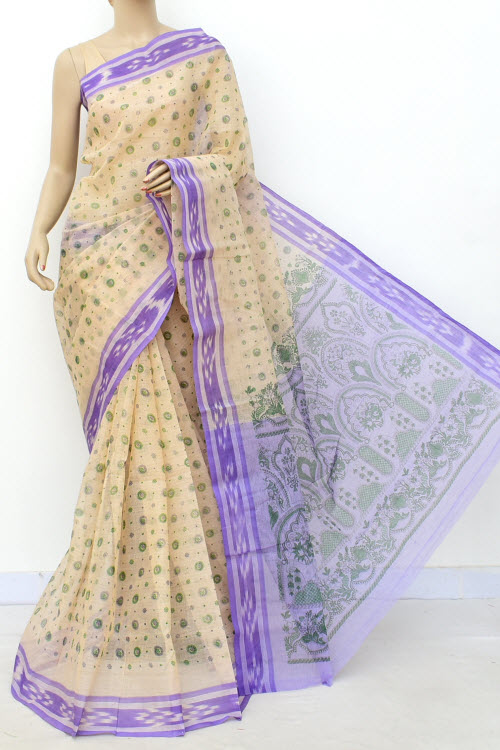 Lightpurple Colour Handwoven Bengal Handloom Blockprint Cotton Saree (Without Blouse) 17813