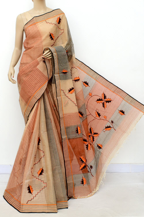 Applique Handwoven Bengal Handloom Cotton Saree (Without Blouse) 17816